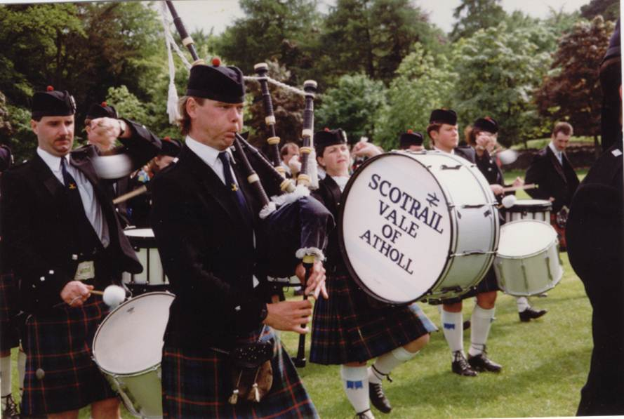 Gordon playing with ScotRail Vale of Atholl Pipe Band