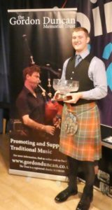 Cameron MacDougall, winner of the Scottish section, Irish section, and Overall Winner